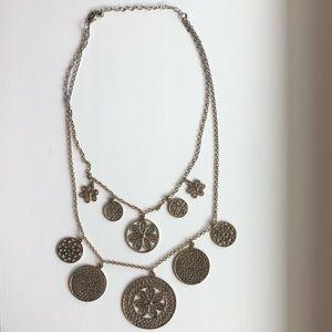Jewelry - Boho bohemian gold medallion Layered Necklace